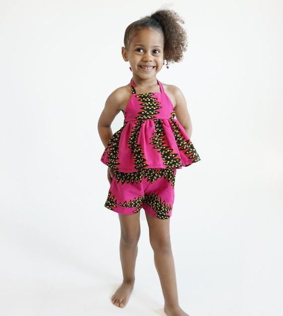 Girls Baby Toddler Pink Ankara Kids Shorts // Ankara African print // Hot Pink Black Yellow//  nb - 9/10