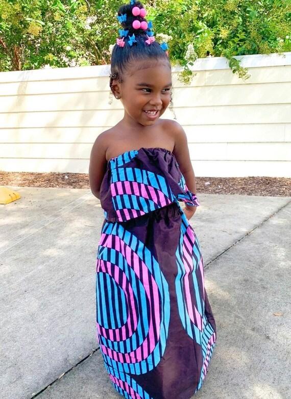 Kids Ankara African Print Boho Maxi Skirt + Top // Black Pink Turquoise Ankara Fabric / Baby Toddler Kids Sizes NB- 6
