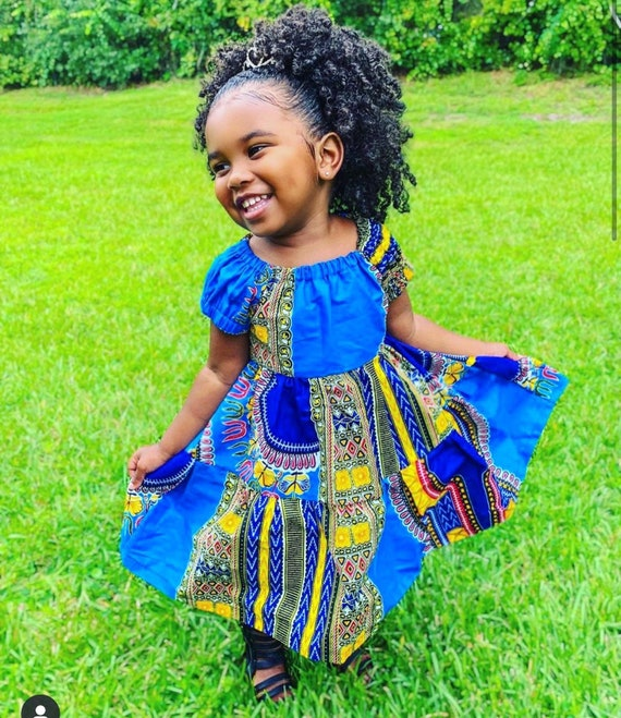 Kids Girls Baby Ruffle Tiered Dress Ankara African Print Outfit // 2T - 9/10 // Blue Dashiki