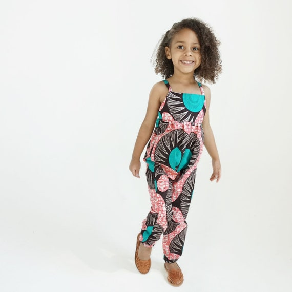 African Ankara Print Jumpsuit Outfit - Baby Girl Toddler Kids - sizes 0-3m - 9/10 - Pink Turquoise