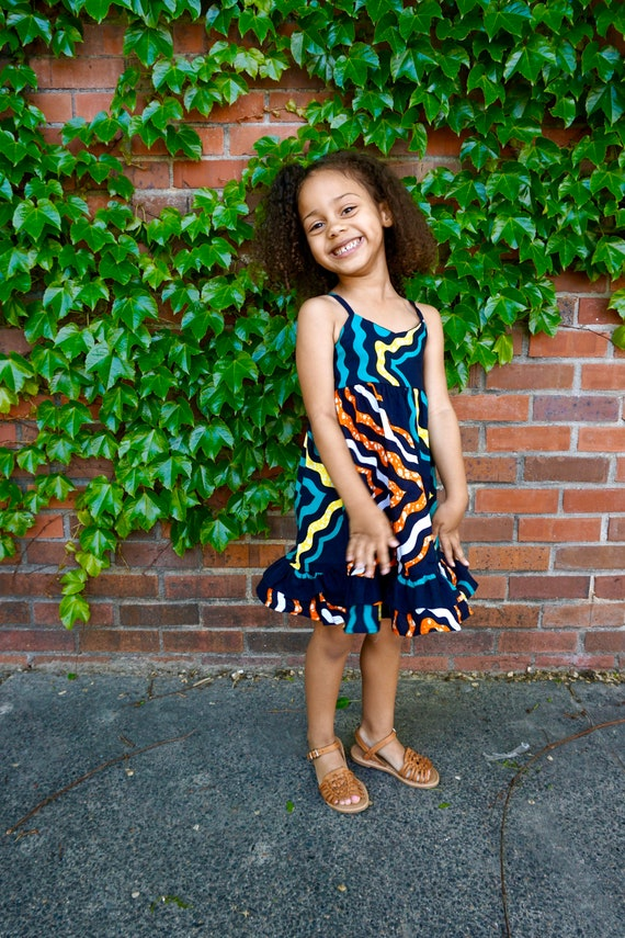Girls Kente African Print Ruffle Dress // Ankara Print Navy Green Orange   // Toddler Kids Size 4T