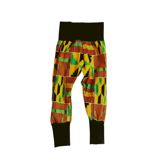 African Ankara Kente Print Toddler Kids Baby Boy Harem Jogger Pants Joggers - Black Orange Green Kente Print // baby toddler kids boys