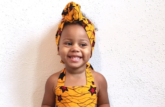 African Ankara Print Baby / Toddler Girl Headwrap Turban  Head Wrap Headband Bow - Yellow Stars