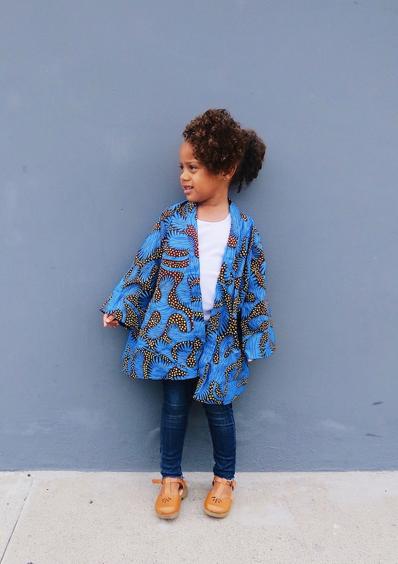 Girls Kimono Jacket Cardigan // Ankara African Fabric Jacket // Baby Toddler Little Girls size 6m - 9/10 // Blue Yellow Ankara Clothing