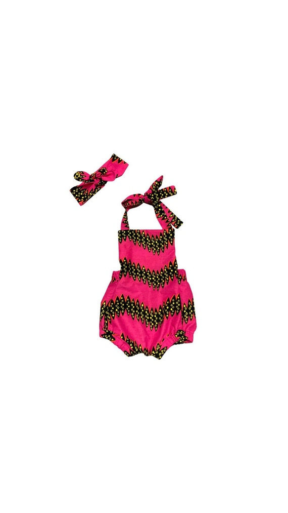 Baby Toddler Girls African Print Romper Outfit // Hot Pink Black Ankara // African Ankara Print Kid Outfit //NB - 5T