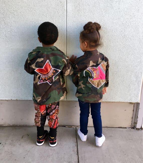 Kids Toddler Camo Camouflage Jacket Coat // Dashiki Ankara Star Heart Hearts // 12m - 8