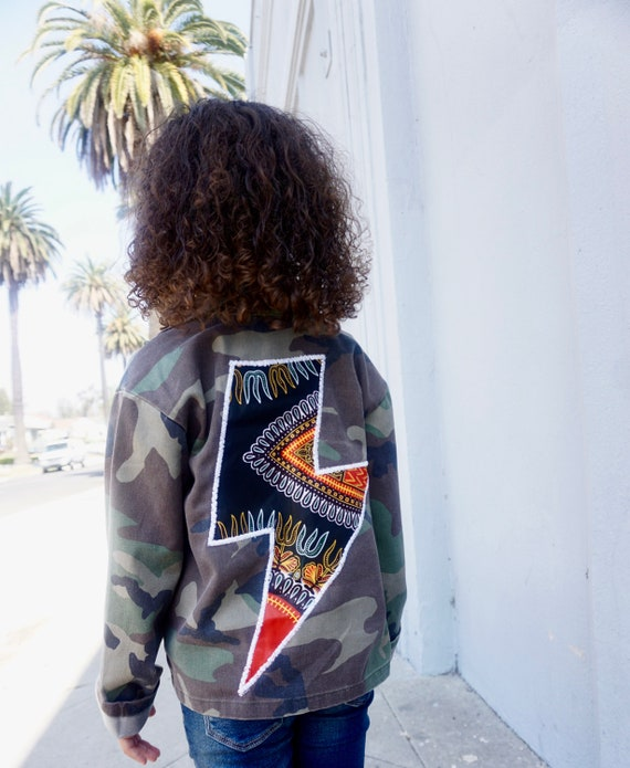 Kids Toddler baby  Camo Camouflage Jacket Coat // Black Dashiki Ankara Lightning Bolt // SIZE 2T - 9/10
