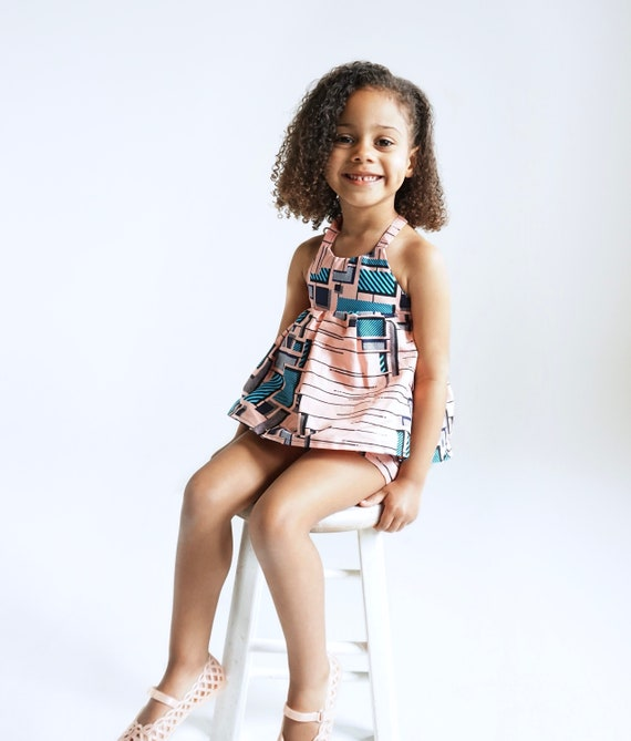 Kids Girls Baby African Ankara Print Ruffle Tank Top Outfit // nb - 9/10 // Light Pink Peach Blue Black