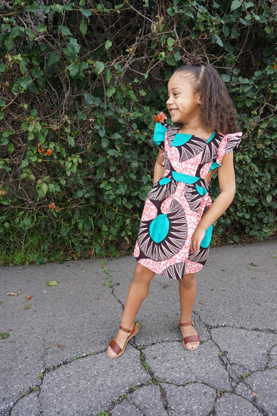 Kids Girls Baby Pinafore Dress Ankara Print Ruffle Ruffled Dress Outfit // nb - 9/10 // Pink + Teal