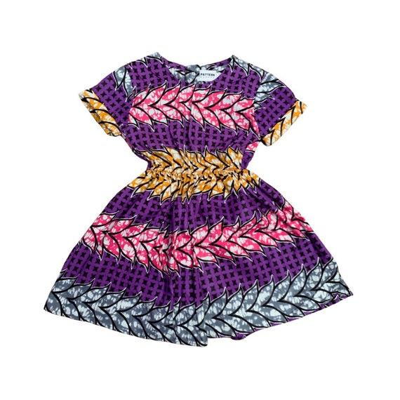 Girls African Print Short Sleeve Dress // Ankara Print Kids Outfit Dress   // Toddler Size 12-18m & 5T SAMPLE SALE // purple batik