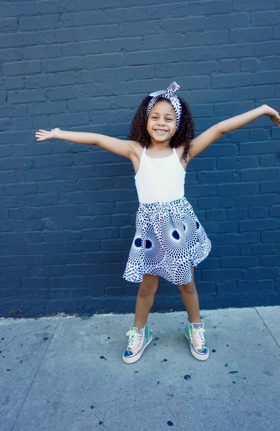 Girls African Print Pink Skirt // White Indigo Navy Blue // African Ankara Print // Baby Toddler Girls Outfit