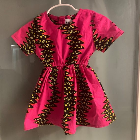 Girls African Print Short Sleeve Dress // Ankara Print Kids Outfit Dress   // Toddler Size 12-18 m SAMPLE SALE