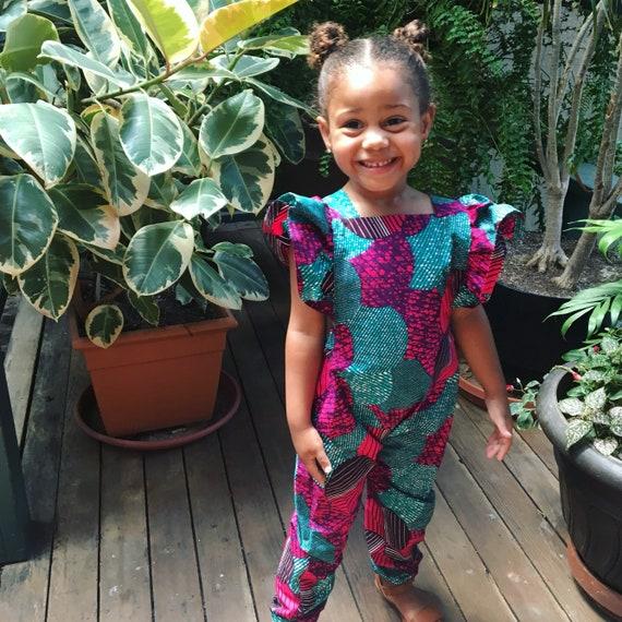 African Ankara Dashiki Print Ruffle Jumpsuit Pink Purple Turquoise Outfit -  Toddler Kids Girls- size 4T