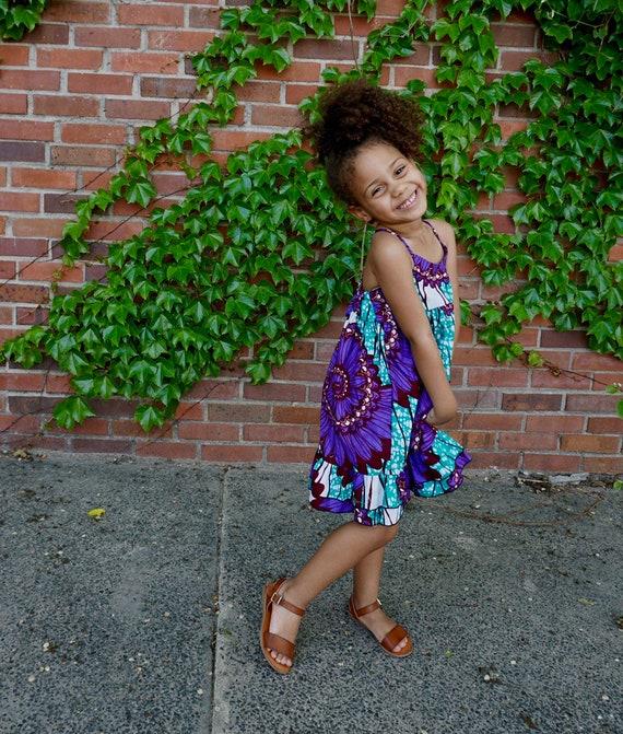 Girls Ankara Ruffle Dress // Ankara African Print Purple Turquoise  // Baby Toddler Kids Sizes 0/3 - 9/10
