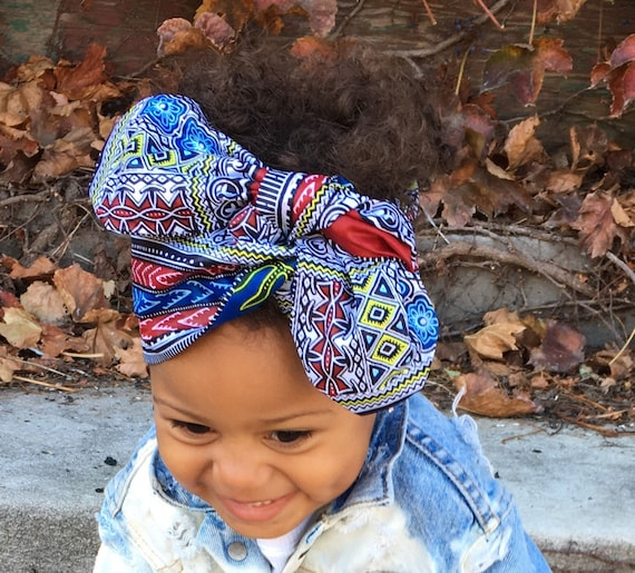 Ankara African Dashiki Print Baby Girl / Toddler / Kids  Headwrap Turban Head Wrap Headband Bow - Blue Dashiki