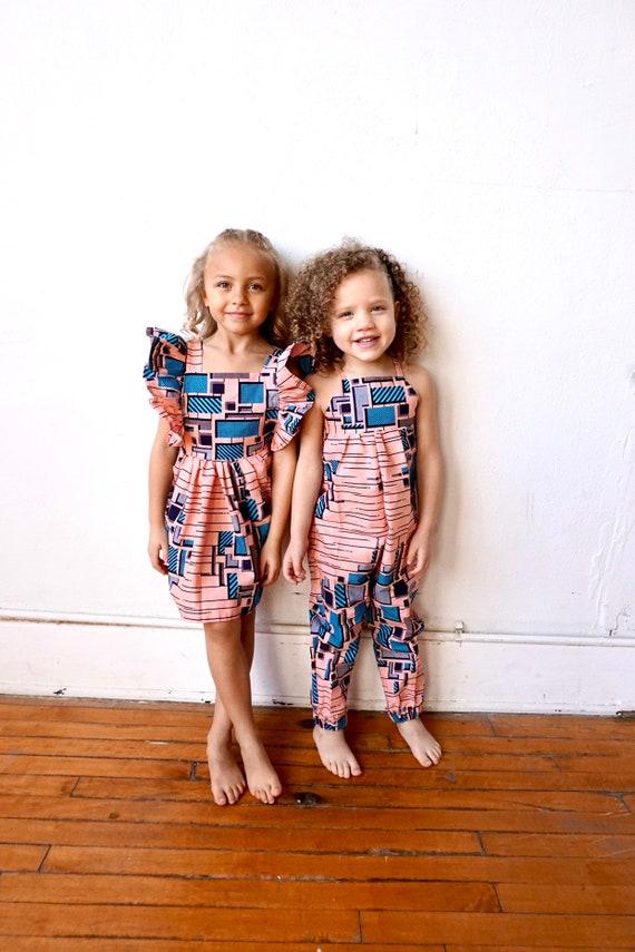 Kids Girls Baby Pinafore Dress Ankara Print Ruffle Ruffled Dress Outfit // nb - 9/10 // Pink + Blue
