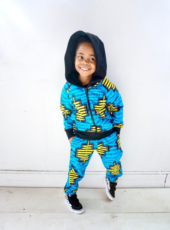 African Ankara Print Kids Jogger Pants // Blue + Yellow Ankara // Baby Toddler Kids sizes nb-9/10