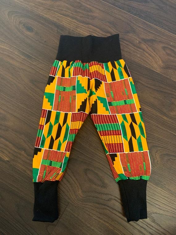 African Ankara Kente Print Toddler Kids Baby Boy Harem Jogger Pants - Black Orange Green Kente Print // Size 12-18m // SAMPLE SALE RTS