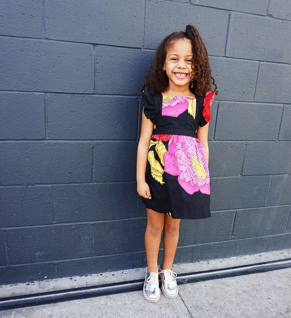 Kids Girls Baby Pinafore Dress Ankara Print Ruffle Ruffled Dress Outfit // 0-3m - 6 // Black Floral