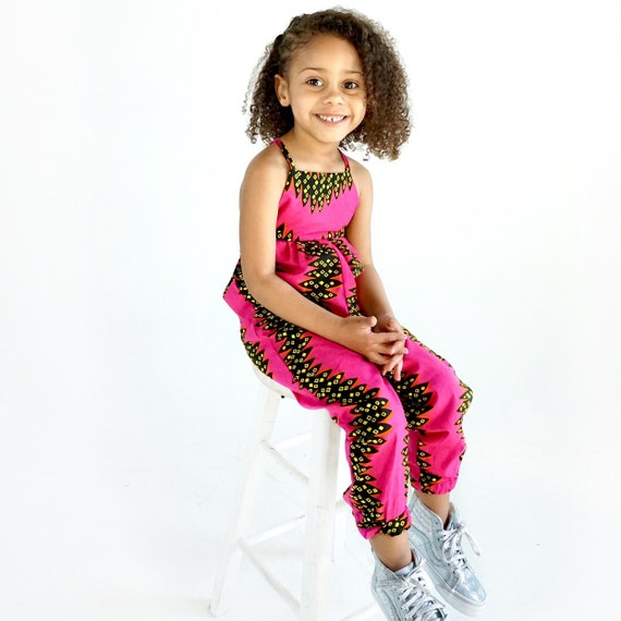 African Ankara Print Jumpsuit Outfit - Baby Girl Toddler Kids - sizes 0-3m - 9/10 - Hot Pink Orange Black