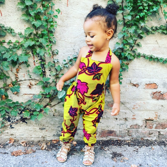 Ankara African Print Jumpsuit Romper  - Citrine Burgundy Floral Leaves Print - sizes 0-3m up to 5t
