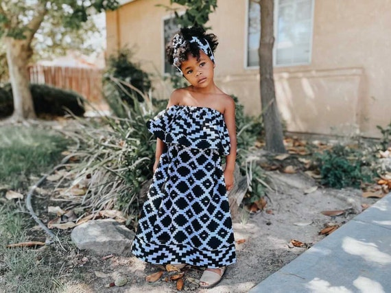 Kids Ankara African Print Boho Maxi Skirt + Top // Black & White Geometric Ankara Fabric / Baby Toddler Kids Sizes NB- 7/8