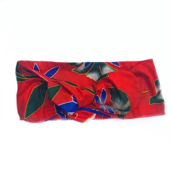 African Ankara Floral Print Baby / Toddler / Girl Headwrap Head Wrap Headband Bow - Red Tropical Hawaiian Floral