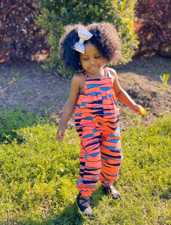 African Ankara Print Kids Jumpsuit Outfit - Baby Girl Toddler Kids - sizes 0-3m - 9/10 // Orange & Blue Ankara