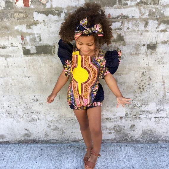 Kids Girls Baby African Dress Ankara Print Ruffle Ruffled Romper Outfit // 4T // Purple Yellow Dashiki // SAMPLE SALE RTS