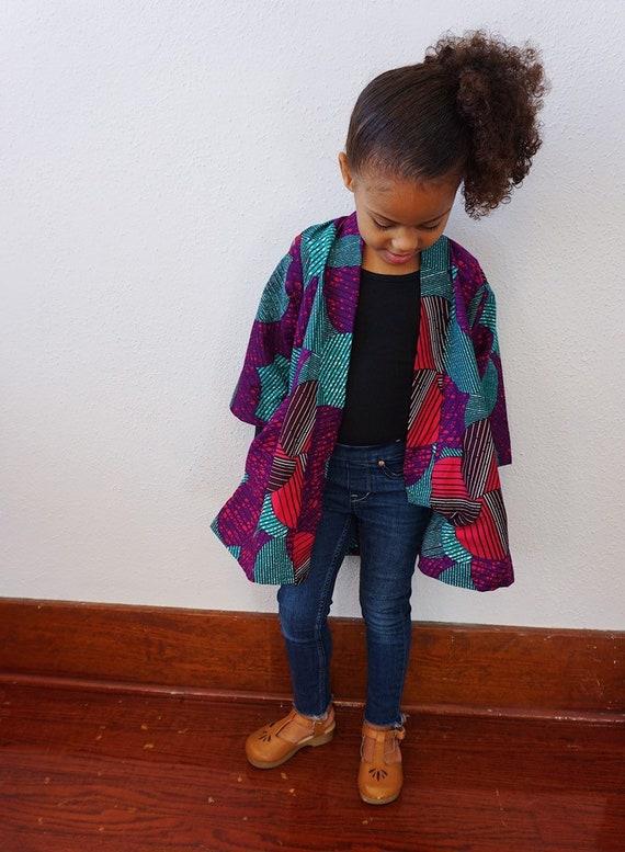 Kids girls Kimono Jacket Cardigan // Ankara African Fabric // Pink Purple Turquoise