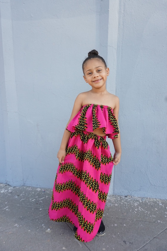 Kids Ankara African Print Boho Maxi Skirt + Top // Hot Pink Black Ankara Fabric / Baby Toddler Kids Sizes 6-12m - 7/8