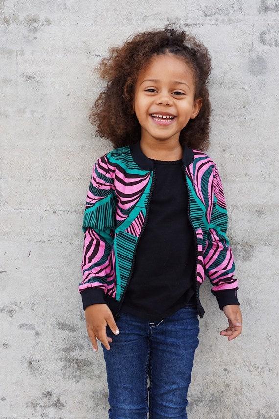 Kids Bomber Aviator Jacket Unisex // Pink and Green Ankara African Print Fabric // SAMPLE SALE 9/10
