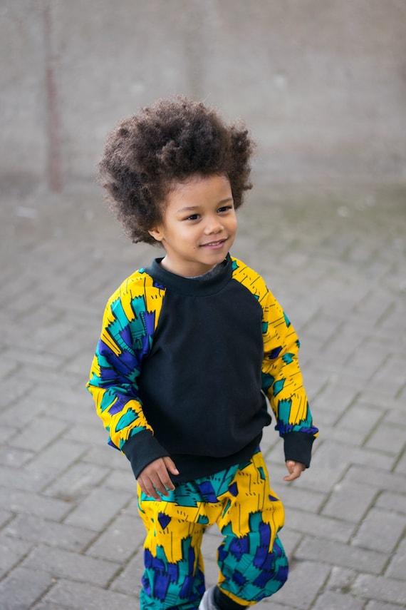 Kids Crew Neck Sweatshirt Ankara Print // Yellow Blue Green  Ankara African Print Sleeves // Baby Toddler 0-3m - 9/10 Kids