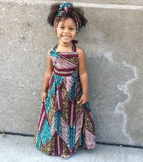 Girls Ankara African Maxi Dress Boho Outfit Dashiki // Baby Toddler Kids sizes  nb - 3T // Brown Green Blue Ankara African Print