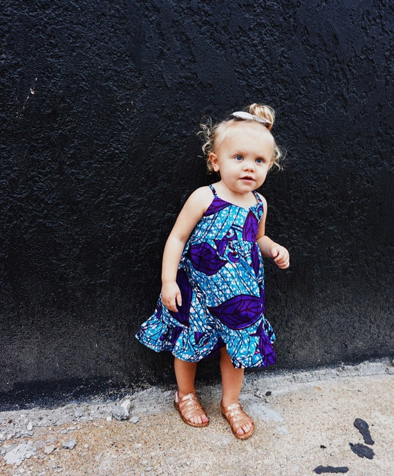 Girls African Print Ruffle Dress // Ankara African Print  Blue Purple Batik // Baby Toddler Kids Sizes 0/3 - 9/10