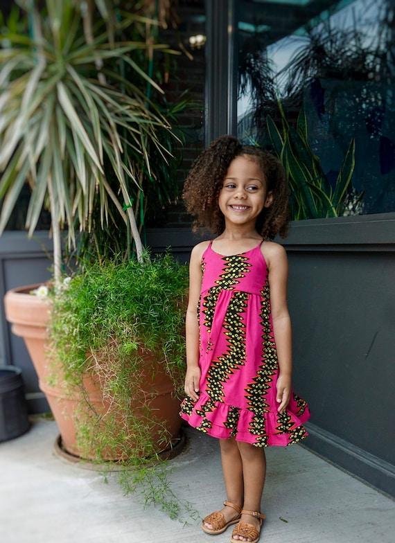Girls Ankara Print Ruffle Dress // Ankara African Print Hot Pink Yellow Black   // Baby Toddler Kids Sizes 0/3 - 9/10