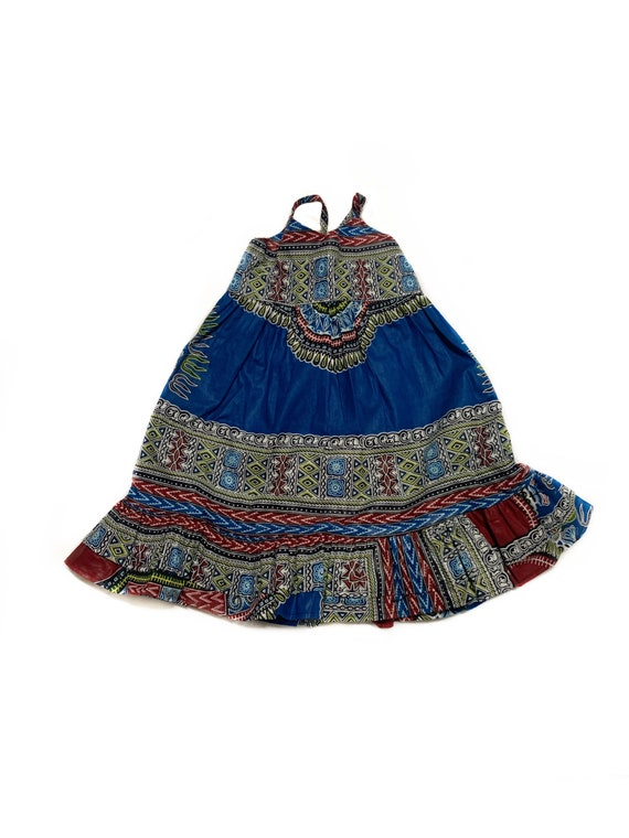 Girls Dashiki African Print Ruffle Dress // Ankara Print Blue Dashiki   // Toddler Kids Size 4T