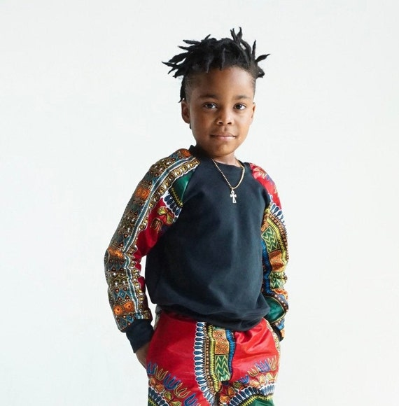 Kids Boys Baby Toddler Crew Neck Sweatshirt Unisex // Red Dashiki Ankara African Print Sleeves // 6m - 9/10