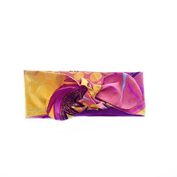African Ankara Floral Print Baby / Toddler / Girl Headwrap Head Wrap Headband Bow - Pink Orange Yellow Tropical Ankara