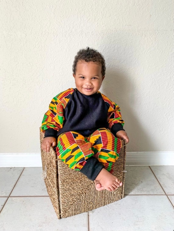 Kids Baby Toddler Crew Neck Sweatshirt Unisex // Orange Red Green Kente Ankara African Print Sleeves // 6m - 9/10