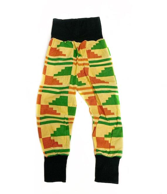 Boys African Kente Print Pants // Kids Jogger Pants Joggers - Yellow Green Kente Print //  3T