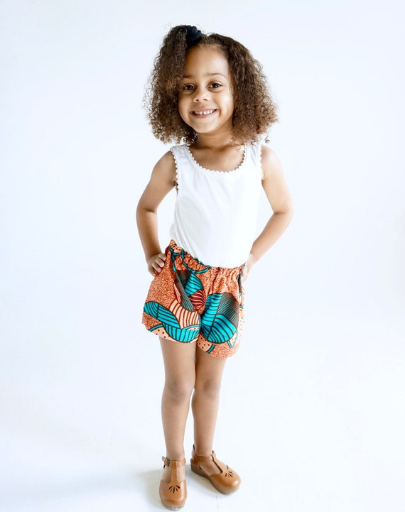 Girls Baby Toddler African Ankara Kids Shorts // Ankara African print // Light Orange Turquoise //  nb - 9/10