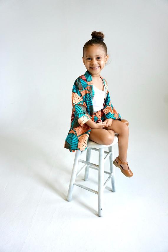 Girls Kimono Jacket // Ankara African Fabric // Toddler size 4T // Light Orange Turquoise // SAMPLE SALE