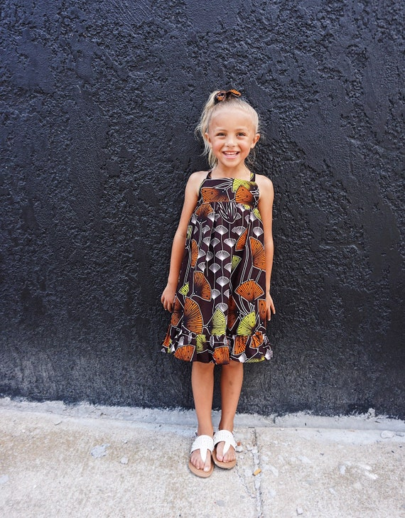 Girls African Print Ankara Dress // African Print Kids Outfit // Lime Orange Brown White   // Baby Dress  Toddler Dress  Kids Dress