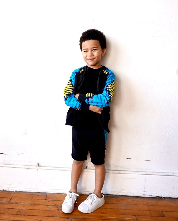 Boys Bomber Aviator  Varsity Jacket Unisex //  Sweatshirt + Blue + Yellow  Ankara African Print Fabric // Baby Toddler Kids 6m - 9/10
