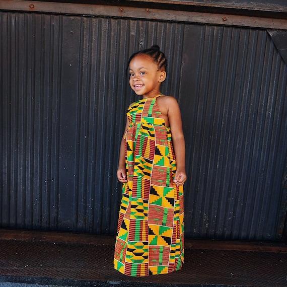 Kids Ankara African Print Boho Maxi Dress // Black Orange Green Kente Ankara Fabric / Baby Toddler Kids Sizes NB- 5T