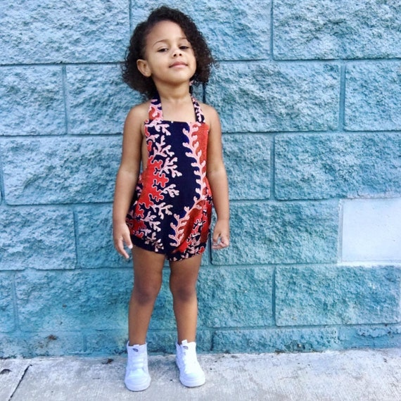 Baby Toddler Girl Romper Outfit Playsuit Romper in African Ankara Print // Navy Coral Seashells // NB - 5T