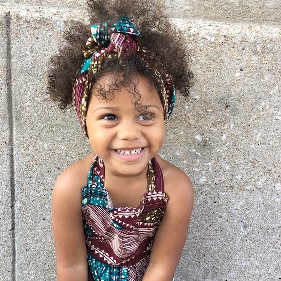 African Ankara Print Baby / Toddler / Girl Headwrap Head Wrap Headband Accessories - Brown Blue Green