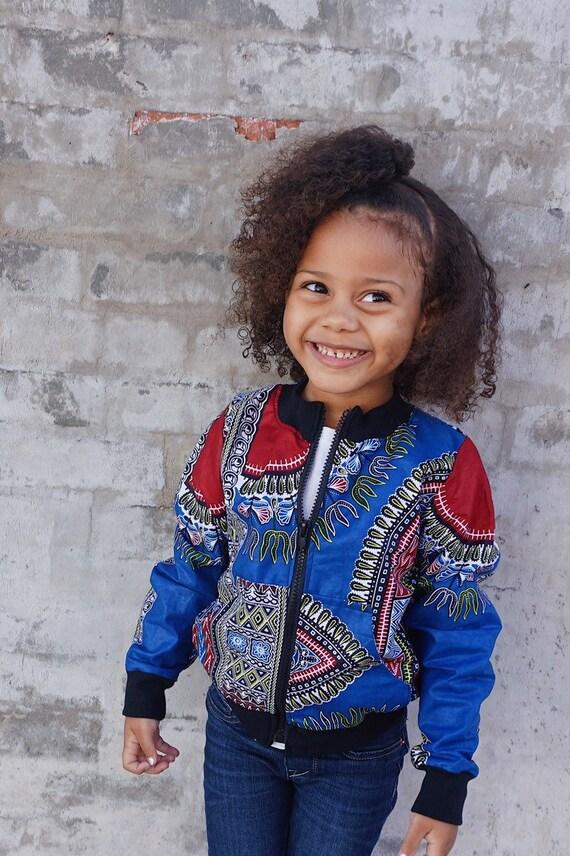 Kids Blue Dashiki Bomber Aviator Jacket Unisex // Blue Dashiki Ankara African Print Fabric // Baby Toddler Kids Sizes 6m - 9/10