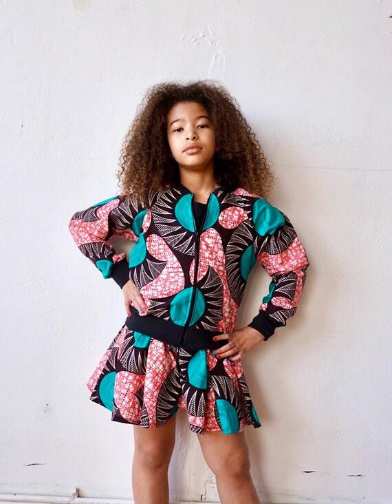 Girls African Print Jacket Unisex //  Kids Bomber Jacket // Pink + Turquoise  Ankara African Print Outift // Baby Toddler Kids 6m - 9/10